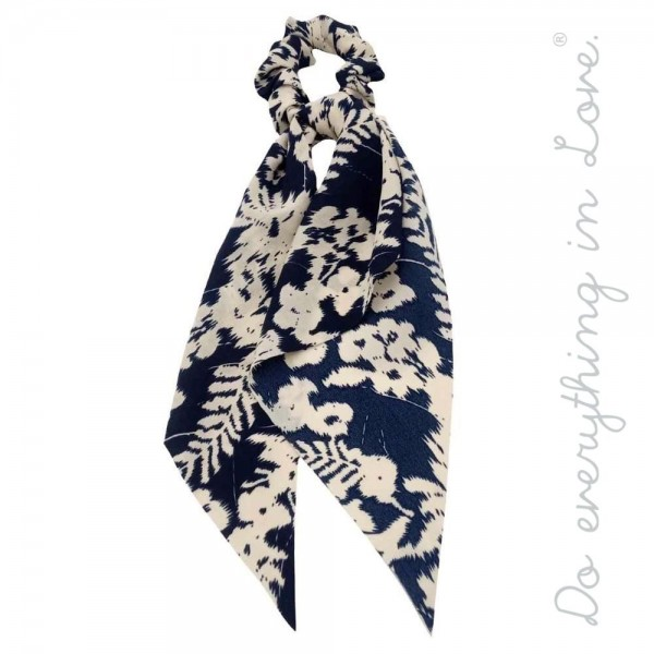 Wholesale do everything Love brand leaf print hair scarf scrunchie One L Polyest