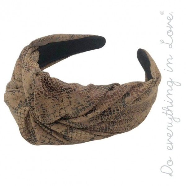 Do everything in Love brand faux leather snakeskin headband.  - One size - 100% PU