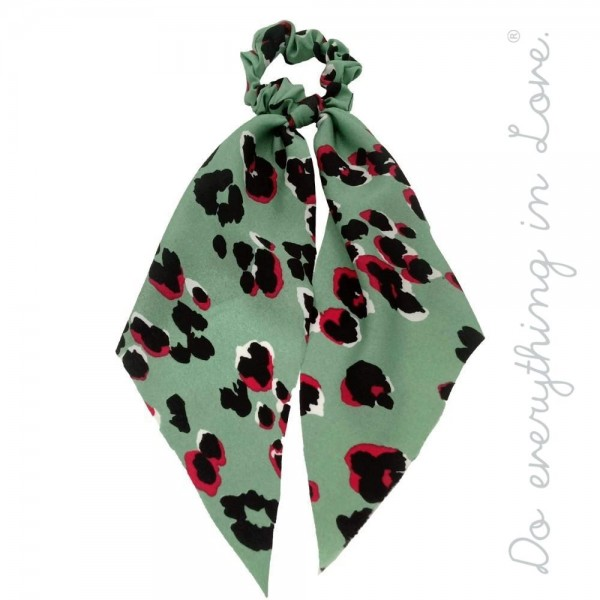 "Do everything in Love brand leopard print hair scarf scrunchie.  - One size - Approximately 10"" L - 100% Polyester"