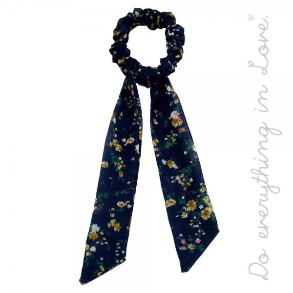 "Do everything in Love brand floral print hair scarf scrunchie.  - One size - Approximately 7"" L - 100% Polyester"