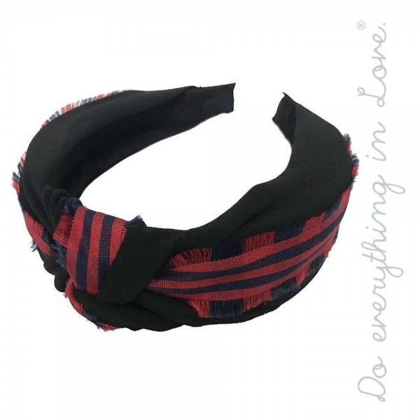 Do everything in Love brand two tone plaid knotted headband with frayed trim.  - One size - 100% Polyester