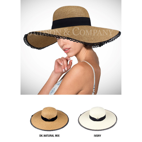 C.C brand ST-708 lace brim hat with ribbon band. 75% paper straw and 25% polyester. UPF 50+