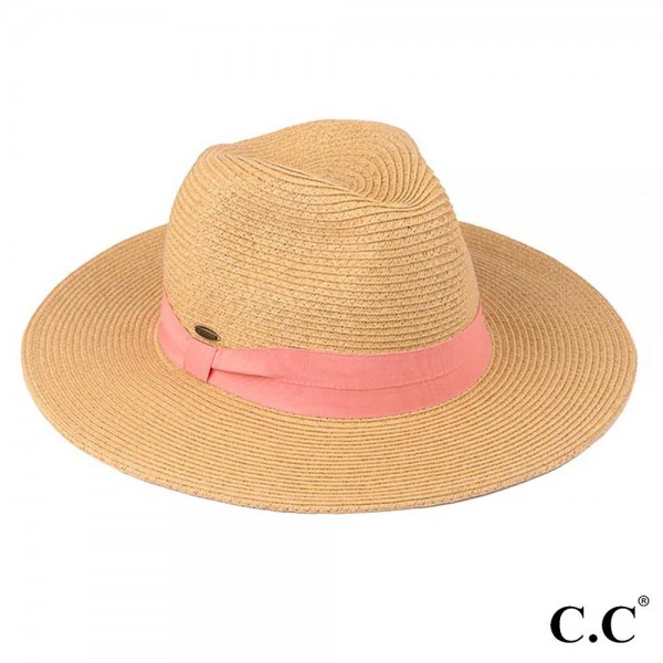 C.C brand ST-02 brim hat with solid color band. 80% paper straw and 20% polyester. UPF 50+