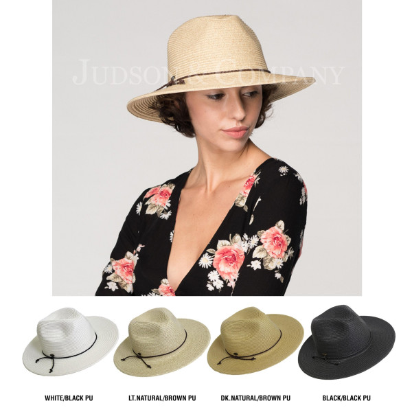C.C brand ST-500 paper straw panama hat with faux leather string. 80% paper straw and 20% polyester. SPF 50+