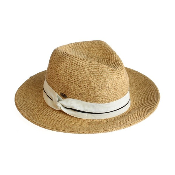 C.C brand ST-514 brim hat with twisted ribbon band. 80% paper straw and 20% polyester. UPF 50+