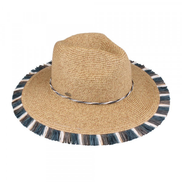 C.C brand ST-701 multi fringe panama hat. 80% paper straw and 20% polyester. UPF 50+