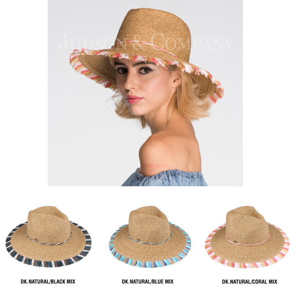 C.C brand ST-701 multi fringe panama hat. 80% paper straw and 20% polyester. UPF 50+