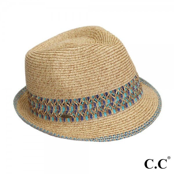 "C.C brand ST-108 fedora hat with aztec band. 80% paper straw and 20% polyester. UPF 50+ Inside diameter is approximately 20"" and is adjustable."