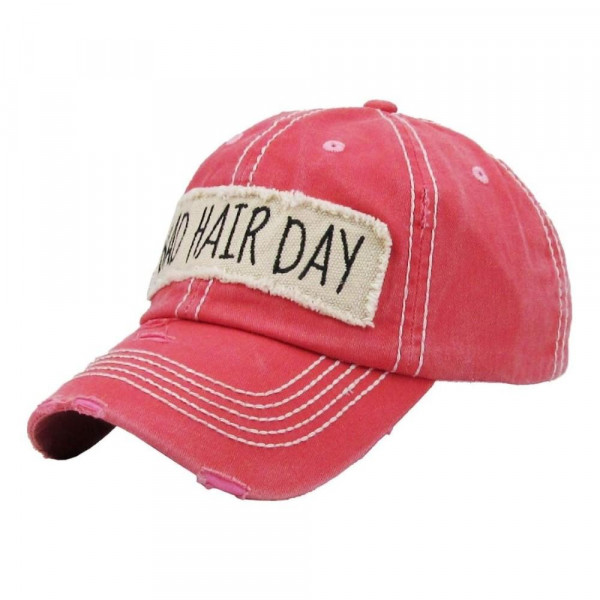 """""""Bad Hair Day"""" embroidered, vintage style ball cap with washed-look details.  - 100% cotton - Adjustable back strap - One size fits most"""