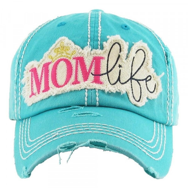 """Mom Life"" embroidered vintage distressed baseball cap.  - One size fits most - Adjustable velcro closure - 100% Cotton"