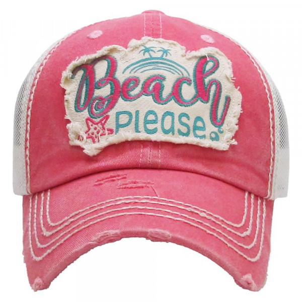 """Vintage, distressed baseball cap featuring """"Beach Please"""" embroidered details.  - 100% Cotton - Adjustable velcro closure - One size fits most"""