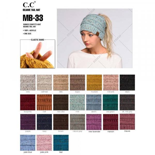 MB-33: Messy-bun, confetti print C.C beanie. 100% acrylic. Matches: HAT-33, G-33, and SF-33.
