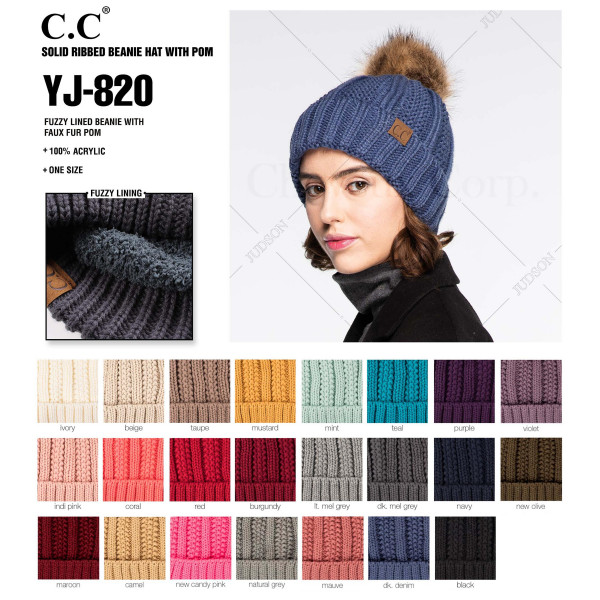 YJ-820: Cable knit fuzzy lined C.C. Beanie with faux fur pom. 100% acrylic.