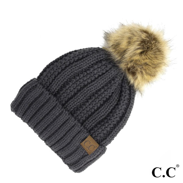 c979445d4da6b YJ-820  Cable knit fuzzy lined C.C. Beanie with faux fur pom.