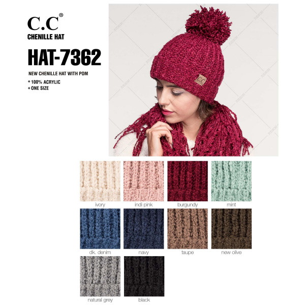 HAT-7362: Chenille knit C.C. Beanie with pom. 100% acrylic.