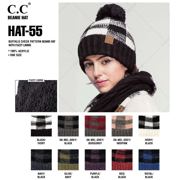 HAT-55: Buffalo check pattern C.C beanie with fuzzy lining. 100% acrylic.