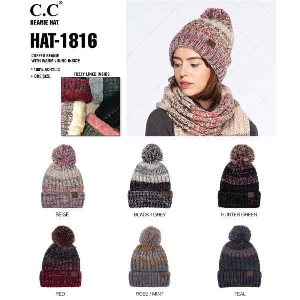 HAT-1816: Multi colored C.C cuffed beanie with warm lining. 100% acrylic.