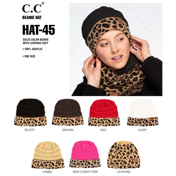 HAT-45: Solid color C.C Beanie with leopard cuff. 100% acrylic.