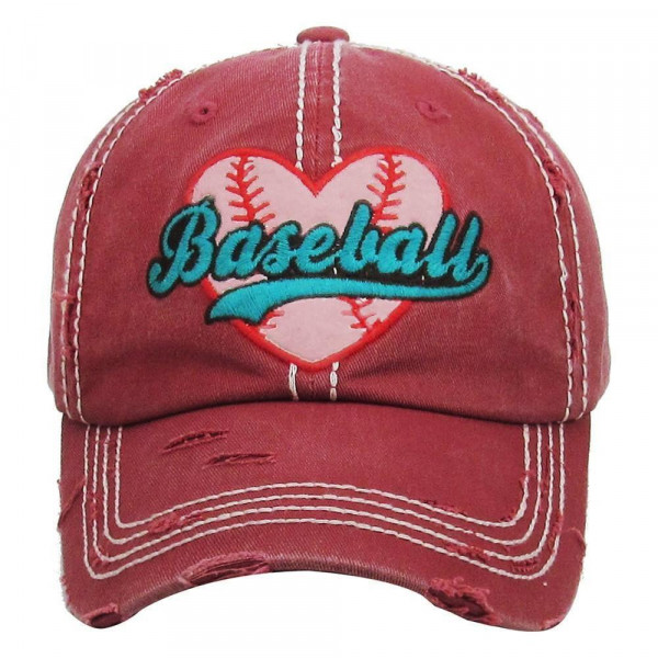 """""""Baseball"""" embroidered, vintage style ball cap with washed-look details.  - 100% cotton - Adjustable back strap - One size fits most"""