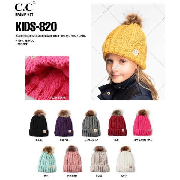 """KIDS-820: C.C Kids Exclusive faux fur pom pom beanie. 100% acrylic. Measures 7"""" in diameter and 8"""" in length. Approximate fit: 4 to 7 years of age."""