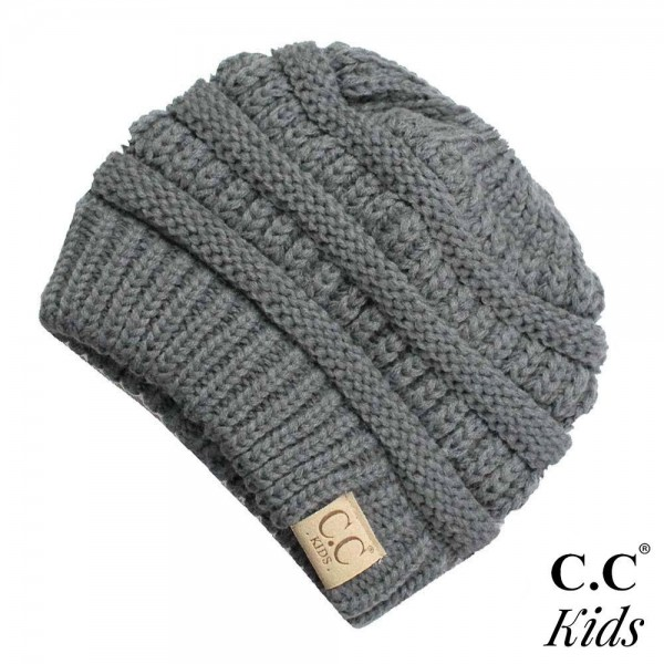 "MB-847-KIDS: Kids messybun C.C Beanie. 100% acrylic. Measures 7"" in diameter and 7"" in length. Approximate fit: toddler to 7 years of age."
