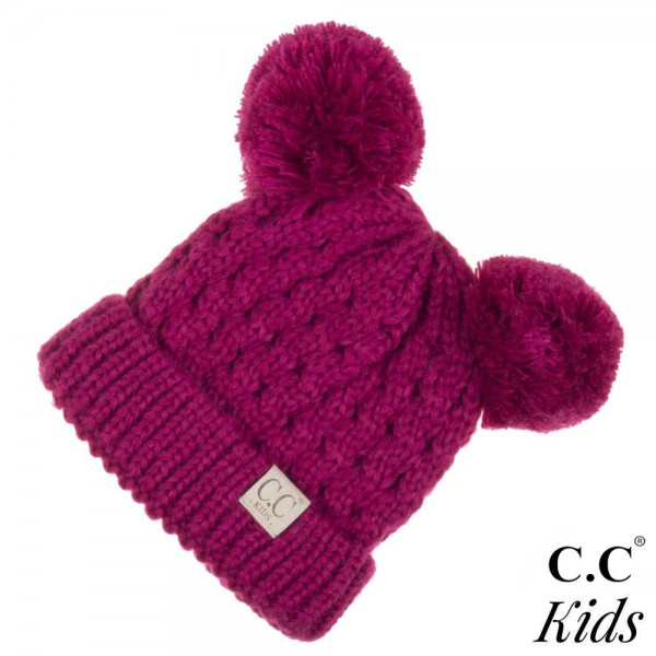 """C.C KID-24  Solid color double pom beanie for kids  - 100% Acrylic - Band circumference is approximately:  10"""" unstretched  16"""" stretched - Approximately 7"""" long from crown to band - Fit varies based on child's head height and shape"""