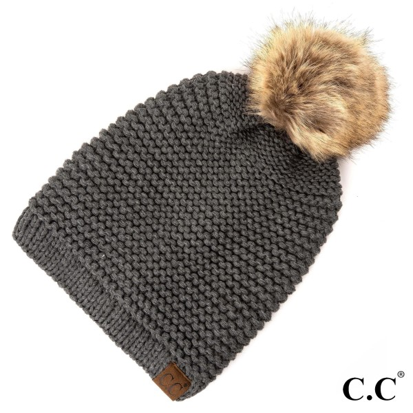 HAT-712: Adjustable drawstring slouchy C.C Beanie with faux fur pom. 100% acrylic.