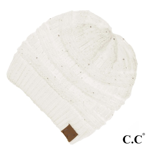 "HAT-730: Cable knit original C.C beanie style with sequin accents. 100% acrylic. Measures 9.5"" in diameter and 8"" in length."
