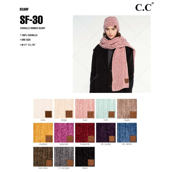 SF-30: Chenille ribbed CC scarf. 100% chenille.