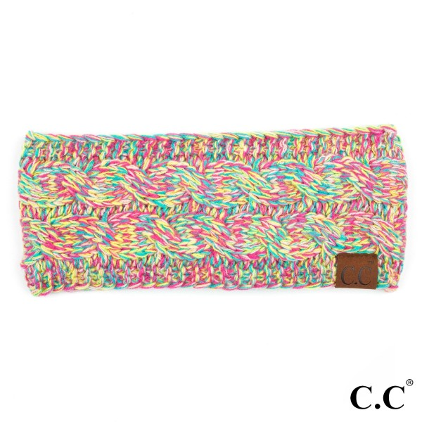 """HW-816: Solid cable knit C.C headwrap with an 18"""" circumference and 4"""" width. 100% acrylic."""