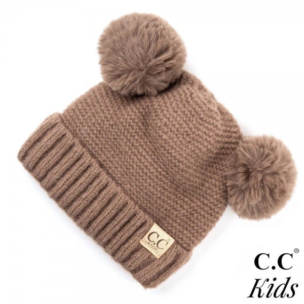 Wholesale kID Solid color chunky cable knit C C Beanie faux fur double pom  pom I bec79d034f55