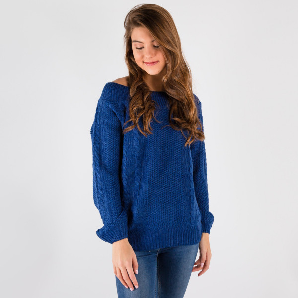 This sweater wears two ways off or on the shoulders.  55% Acrylic 45% Cotton