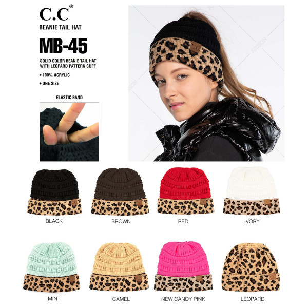 HAT-12- CC Houndstooth ribbed beanie hat- 100% Acrylic- One size.
