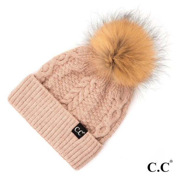 HAT-1915-CC Cable beanie with real fur Pom. 20% angora, 80% Acrylic. One Size.
