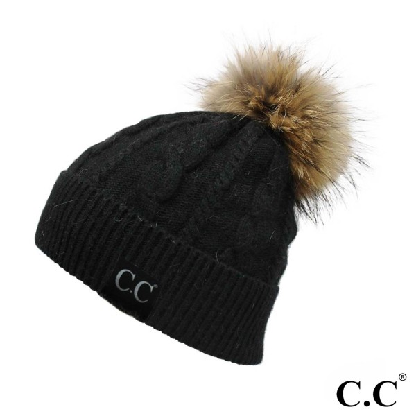 HT-402-CC- Beanie with real raccoon fur Pom. 20% Angora, 60% Acrylic, 15% Raccoon Fur, 5% Iron. One size.