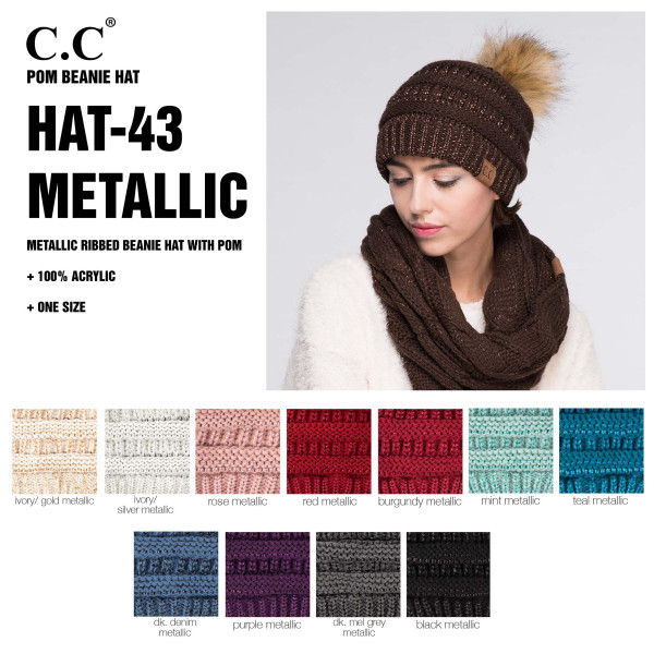HAT-43 C.C Metallic ribbed beanie hat with Pom. 100% Acrylic-One size.