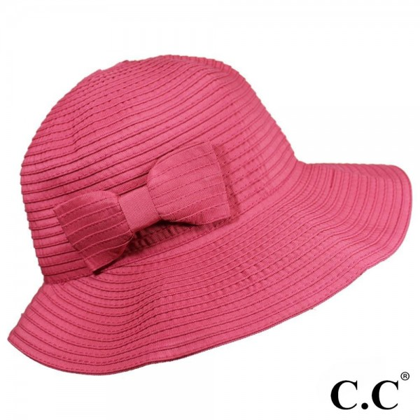 St-10 CC- brim hat with color ribbon. 100% polyester- One size.