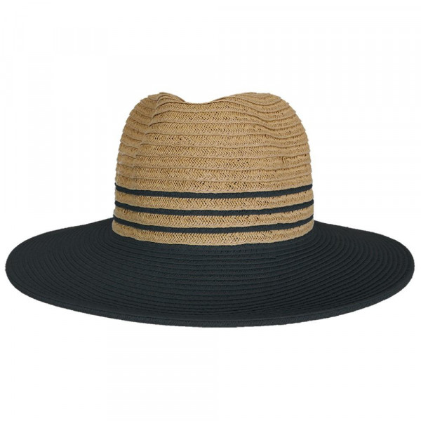 St-109 CC- straw stripe panama hat with color. 100% paper- One size.
