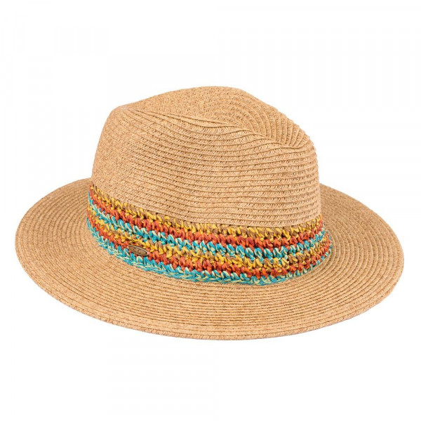 ST-509-CC paper straw hat with multicolored knot band. 80% paper-20% polyester. One size.