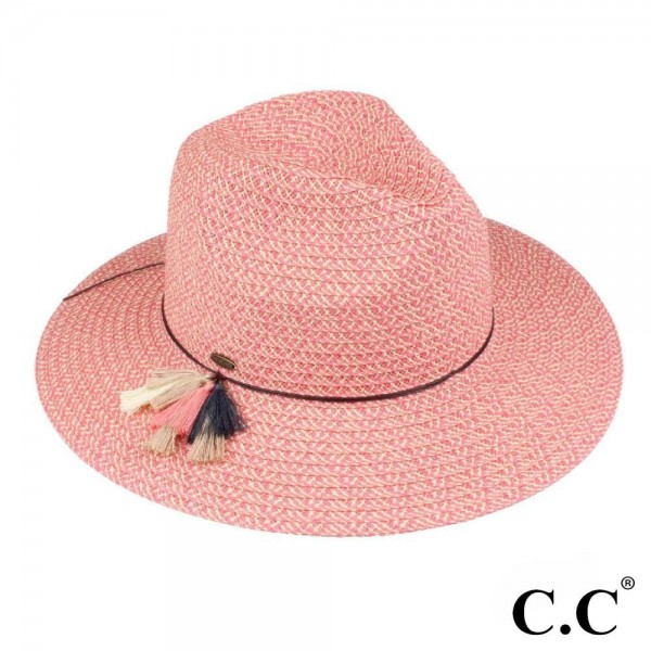 ST-704 CC- Straw panama hat with multi color tassel band. 80% paper straw / 20% polyester. One size.