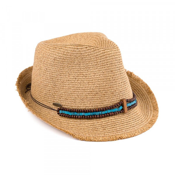 ST-518 CC- Paper straw fedora hat with beaded adornments. 80% paper/ 20% polyester. One size.