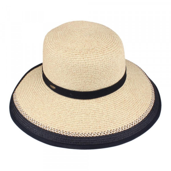 ST-709 CC- color trim straw visor hat with velcro. 80% paper straw/ 20% polyester. One size.