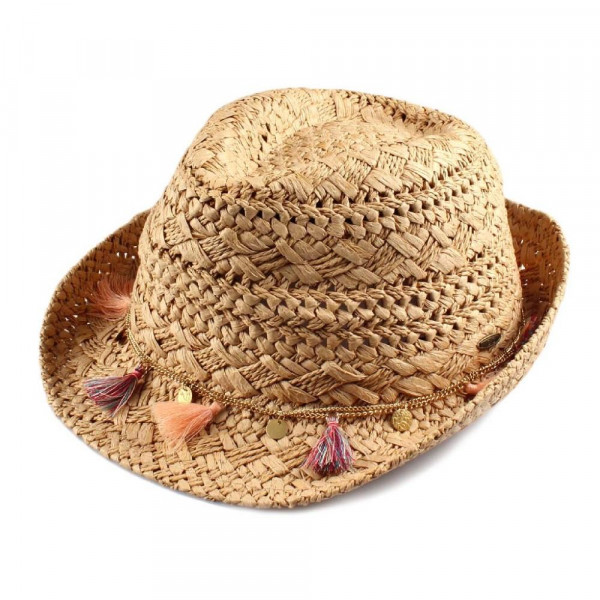 ST-2021-CC paper straw fedora hat with tassel ornament. 100% paper. One size.