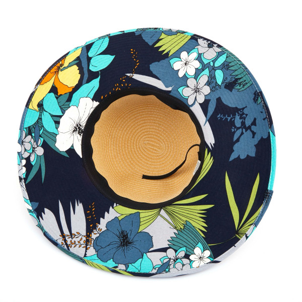 C.C ST-3003 Brim straw hat with flower fabric pattern. 20% cotton-80% paper straw. Inside adjustable sting. One size fits most.