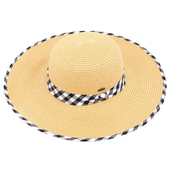 C.C ST-3006 Brim straw hat with gingham fabric pattern. 20% cotton-80% paper straw. Inside adjustable sting. One size fits most.