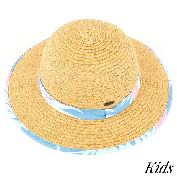 C.C Kids-2002- Brim straw hat with flamingo fabric pattern. 20% cotton-80% paper straw, Inside adjustable string. One size fits most.