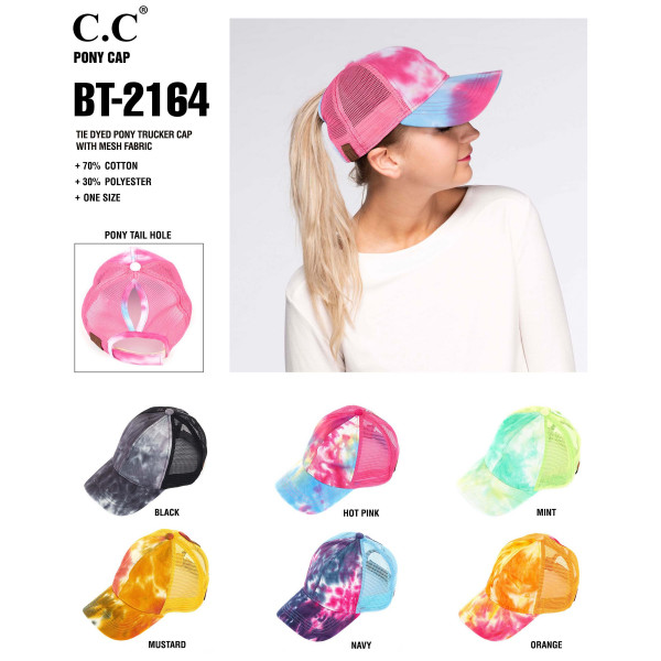 C.C BT-2164 Tie dyed pony trucker cap with mesh back  - 70% Cotton, 30% Polyester - Adjustable velcro closure - One size fits most