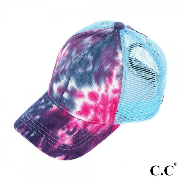 C.C BT-2164- Tie dyed pony tail trucker cap with mesh fabric. 70% cotton-30% polyester. One size fits most.