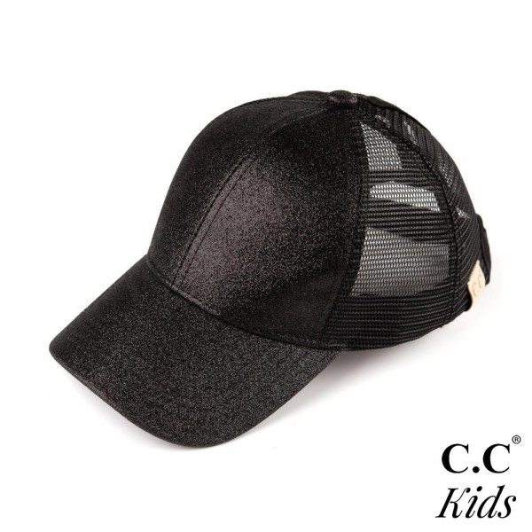 C.C KIDS BT-6 Glitter trucker pony tail cap. 100% polyester. One size fits most.