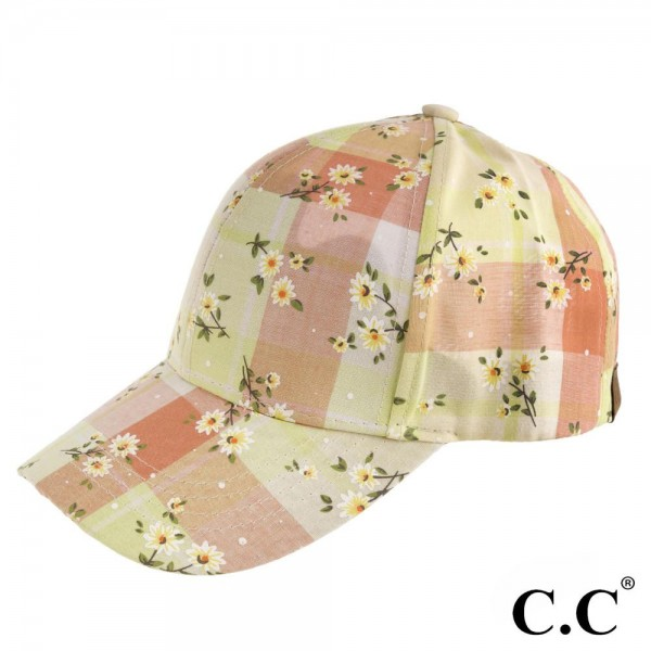 BA-751 C.C. orange plaid baseball cap with floral print. 60% Cotton, 40% Poyester. One size.
